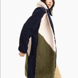 J.Crew Teddy sherpa top coat in colorblock